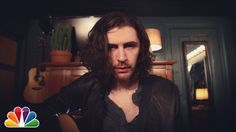 """Hozier performs an acoustic version of """"Take Me To Church"""" while backstage in the Tonight Show music room."""