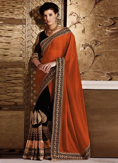 Shop this product from here.. http://www.silkmuseumsurat.in/orange-and-black-crepe-half-and-half-saree?filter_name=4539  Item :#4539  Color : Black, Brown, Orange Fabric : Faux Chiffon, Faux Crepe Occasion : Party, Reception, Wedding Style : Half n Half Saree Work : Embroidered, Patch Border, Resham