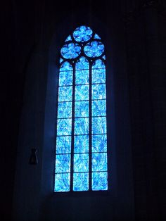 Marc Chagall's blue stained glass inside St. Stephen's Church, Mainz