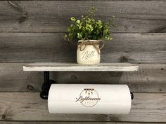 Paper Towel Holder with Shelf, Cleaning Holder, Laundry Pipe Paper Rod, Kitchen Holder, Modern Pipe Fixture, Industrial Decor, Farmhouse Bathroom Paper Towel Holder, Industrial Floating Shelves, Industrial Pipe, Industrial Bathroom, Industrial Paper Towel Holders, Paper Towel Crafts, Dark Walnut Stain, Rustic Bathrooms, Household Cleaners