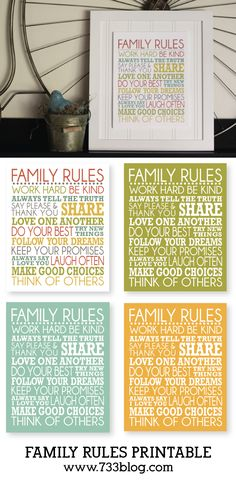 Family Rules Printable Subway Art