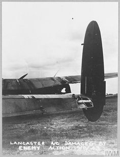 Original wartime caption: For story see CH.10914. Damage to the starboard wing and tailplane. David Livingstone, Lancaster Bomber, Ww2 History, Peaceful Life, Caption, Lincoln, Wwii, Planes, Manchester