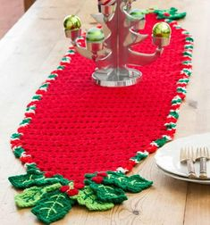 Holiday Holly Crochet Table Runner | Don't you love this festive crochet table runner? It's such a cute easy crochet pattern for Christmas!