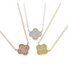 Who needs luck when you can have this designer inspired sterling silver clover necklace by Eternally Haute. Resting delicately on your neck, these standout pieces are adorned in cubic zirconia and offered in three color options.