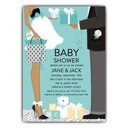 Classic Couple African American Blue Shower Invitations | PaperStyle