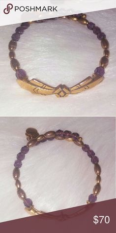 Alex & Ani Vintage 66 Eggplant Decoratif Wrap Alex & Ani Vintage 66 Eggplant Decoratif Wrap from the 2012 Art Deco Collection line. This is a RARE RETIRED piece with beautiful and bold geometric eggplant (plum) and gold shaped beading.  This has NEVER been worn/used, it is BRAND NEW w/o tag.  >>>LISTED ON ?ERCARI CHEAPER<<< Alex & Ani Jewelry Bracelets