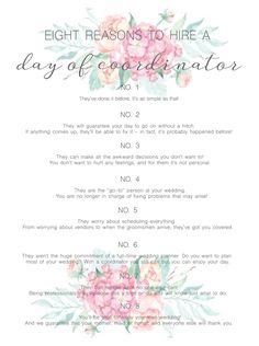 day of wedding coordinator checklist