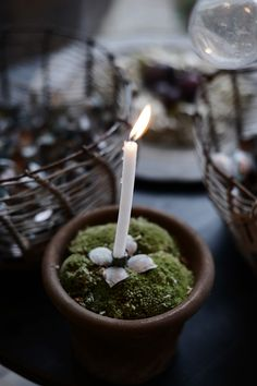 Candle holder in moss pot