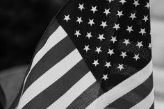 american flag, b/w.