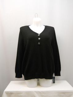 Karen Scott Black Long Sleeves Button Y-Neck Medium Knit Henley Sweater Size 1X  #KarenScott #Henley
