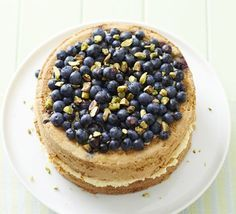 Blueberry & Pistachio Cake with Cardamom Cream Featured in Good Food Magazine - See her blog http://webakelove.com/