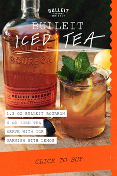 """A """"Happy Hour"""" Iced Tea. Mix Bulleit Bourbon with refreshing black tea iced tea for a bold and spicy cocktail for any afternoon. Fancy Drinks, Bar Drinks, Non Alcoholic Drinks, Cocktail Drinks, Cocktail Recipes, Beverages, Mixed Drinks Alcohol, Alcohol Drink Recipes, Refreshing Drinks"""