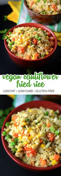 "Try this vegan cauliflower fried ""rice"" for a healthy alternative to classic fried rice. Made with riced cauliflower. Gluten-free, grain-free, healthy, low carb, low fat."