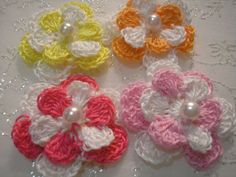 Crochet Color Block double layered flowers in a by lilyscrochet, $4.64