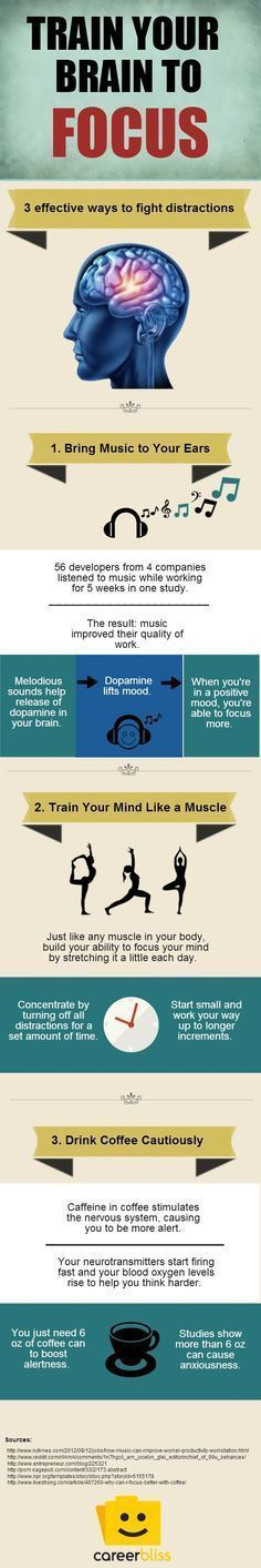 3 Ways to Train Your Brain to Focus http://www.careerbliss.com/infographics/3-ways-to-train-your-brain-to-focus-infographic/ #adhd #focus #brain #BusinessCollgeCoursesOnline