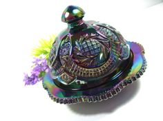 *CARNIVAL GLASS ~ Iridescent Butter Dish in fabulous shades of blue, purple + green, c.1950 - 1970's.