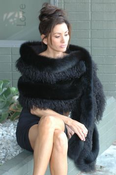 ** Black Mink and Fox and Tibetan Lamb Fur Stole Los Angeles Beverly Hills