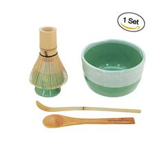 BambooMN Brand - Matcha Bowl Set (Includes Bowl, Rest,Tea Whisk, Chasaku, & Tea Spoon) 1 Set Mint Green * Click on the image for additional details.