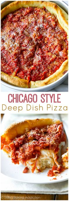 Chicago-Style Deep Dish Pizza Recipe on sallysbakingaddiction.com Complete with step-by-step photos and tons of tips and tricks!