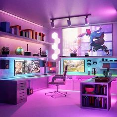 Concept design of Nay Nay's gaming room. This is the perfect gaming setup for any gamer! With a wrap around desk to fully immerse you💥 Computer Gaming Room, Gaming Room Setup, Computer Setup, Pc Setup, Gaming Rooms, Gamer Setup, Game Room Decor, Room Decor Bedroom, Video Game Rooms