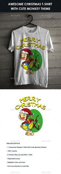 #Christmas T-Shirt with Cute Monkey Theme - #Designs #T-Shirts