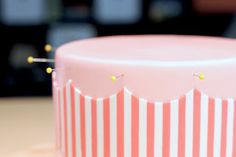 """cut out two pieces of wax paper 6""""h x 13"""" w. I greased them up lightly with Crisco so my stripes would stick on it and began laying out my pattern. Once I was done, I used my template to cut out the design, then flipped the wax paper over onto my cake and peeled it off."""