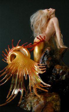 Basking Sunrise Mermaid 1 by wingdthing, Sculpture on DeviantArt