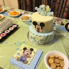 Mickey Mouse themed birthday cake.