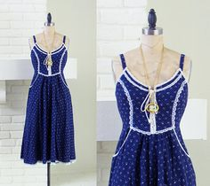 70s Gunne Sax dress  lovely corset blue floral by thefrippery, $78.00
