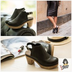 Black Clogs for Women, Swedish Clogs, Adjustable Strap Slingback Shoes, Soft Clogs, Black High Heel Shoes, Stockholm - Tyra  #BlackClogs #clogs #black #WomensClogs #SoftClogs #StockholmClogs #HighHeelShoes #HighHeelClogs #SwedishClogs #BlackHighHeels Black High Heels, Low Heels, Swedish Clogs, Black Leather Mules, Slingback Shoes, Everyday Shoes, Stockholm, Sweden, Me Too Shoes