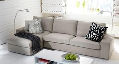 Sofas: KIVIK Three-seat sofa and chaise longue