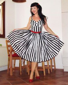 Pinup dress 'Jailbird' black striped by PinupDollCollection