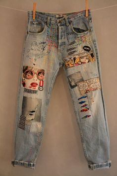 All SIZES High Waist Destroyed Boyfriend Jeans Distressed and Totally Patched Je., All SIZES High Waist Destroyed Boyfriend Jeans Distressed and Totally Patched Jeans Women's size 6 High Waisted Mom Jeans// all sizes - Jeans flicken . Jean Rapiécé, Jean Diy, Diy Jeans, Women's Jeans, Denim Leggings, Diy Ripped Jeans, Jeans Shoes, Denim Pants, Painted Jeans