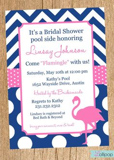 Love the flamingo wedding ideas pinterest wedding groom flamingo bridal shower invitation diy printable bridal shower invite navy and pink on etsy filmwisefo Choice Image