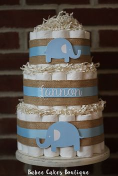3 Tier Blue Burlap Elephant Diaper Cake, Blue Elephant Baby Shower, Boy, Centerpiece, Blue Elephant Shower Decor, Burlap Baby Boy Shower