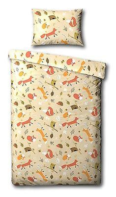 Childrens Cream Foxes, Owls & Friends Woodland Creatures Single Duvet Cover Set