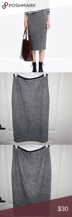 "Madewell Pillar Midi Skirt A midi-length pencil skirt that's brilliantly sleek and completely cozy in a comfy wool blend. So soft and textural. Short, straight skirt. 27"" long. Viscose/wool. Dry clean. Import. Madewell Skirts Midi"