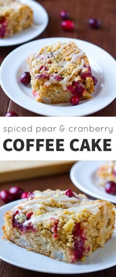 Spiced Pear and Cranberry Coffee Cake with a Brown Sugar Crumb Topping @sweetpeasaffron