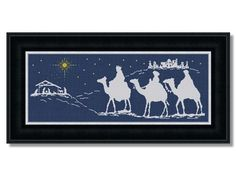 Nativity in Bethlehem with three Kings traveling on camels to visit the infant Jesus in manger. The design area is 349 x 122 stitches; 19.39 x 6.78 (Fabric navy blue 18ct Aida), 21.81 x 7.63 (16ct) or 24.93 x 8.71 (14ct). The smaller version of this pattern (image 2, grid size 250W x90H) is available at https://www.lucyxstitches.com/christmas-cross-stitch-patterns/83-nativity-in-bethlehem-ii.html This cross stitch pattern is in PDF format. You will receive additional file with tutorial how…