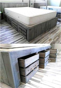 Pallet Furniture Projects Pallet Bed with Storage - The Best DIY Wood Wood Pallet Beds, Pallet Bed Frames, Diy Pallet Bed, Diy Pallet Furniture, Diy Pallet Projects, Reclaimed Wood Furniture, Wood Pallets, Home Furniture, Pallet Ideas