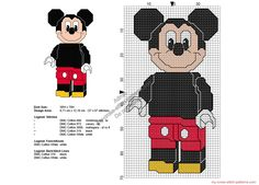 Disney Lego minifigures Mickey Mouse free cross stitch pattern 37x67