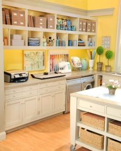 """Another fantasy craft room. This is the craft """"room"""" on the set of the Martha S. - Another fantasy craft room. This is the craft """"room"""" on the set of the Martha Stewart show. Craft Room Design, Craft Room Decor, Craft Room Storage, Room Organization, Home Decor, Storage Boxes, Storage Shelves, Craft Room Shelves, Laundry Storage"""