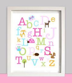 Nursery Wall Art - ABC Alphabet Girl Woodland Deer Tree Bird Nest Owl Fox Ladybug Baby Shower Gift INSTANT Download by littlebirdieprints on Etsy https://www.etsy.com/listing/159335336/nursery-wall-art-abc-alphabet-girl