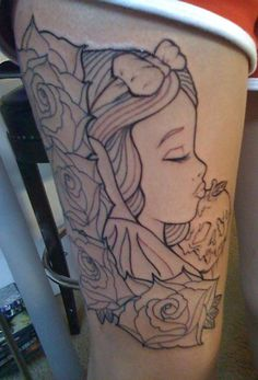 beautiful snow white tattoo instead of roses have the different dwarfs heads for my family