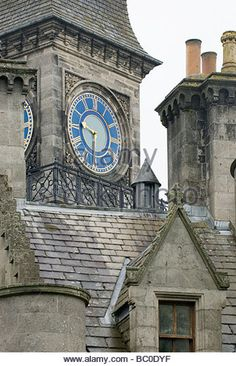 Clock tower of Dunrobin Castle Scotland - Stock Image