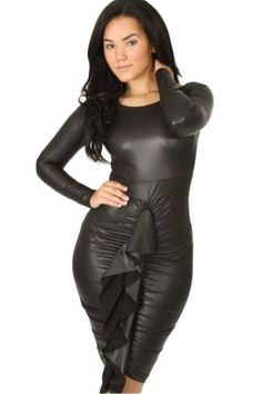 Limited Edition... Her Shimmery Leat... Flying out out the door! http://HisandHerFashion.com/products/her-shimmery-leather-fabric-front-ruffled-long-sleeve-leather-dress?utm_campaign=social_autopilot&utm_source=pin&utm_medium=pin      #Womendresses