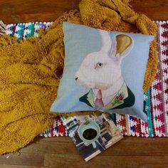 Vintage Inspired Mr. Bunny Premium Cotton Linen Pillow Case #ArtDecoStyle