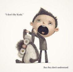 Koala and boy by Charles Santoso