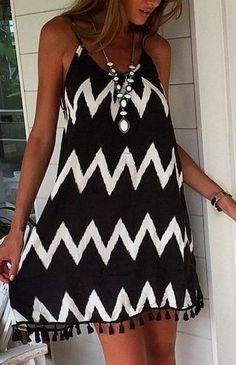 Hot black tassel dress