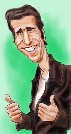Fonzie - Creative Art in Digital Art by Alan Davis..FOLLOW THIS BOARD FOR GREAT CARICATURES OR ANY OF OUR OTHER CARICATURE BOARDS. WE HAVE A FEW SEPERATED BY THINGS LIKE ACTORS, MUSICIANS, POLITICS. SPORTS AND MORE...CHECK 'EM OUT!!